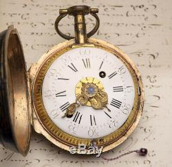 11cm 1kg CHINOISERIE ALARM + REPEATER Verge Fusee Antique COACH CLOK WATCH
