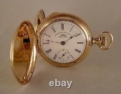 121 YEARS OLD WALTHAM SOL 14k GOLD FILLED HUNTER CASE 18s GREAT POCKET WATCH