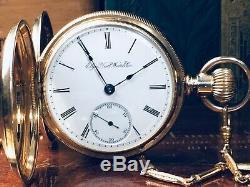 14K SOLID GOLD ELGIN 18s HUNTER CASE ANTIQUE POCKET WATCH KEEPS GOOD TIME c. 1891