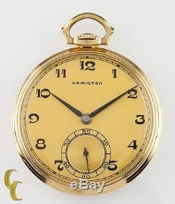 14K Yellow Gold Antique Hamilton Open Face Pocket Watch Gr 923 10S 23 Jewel