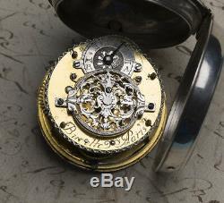 1720s OIGNON Verge Fusee Antique Pocket Watch MONTRE COQ SpindelTaschenuhr