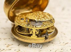 1763 British Solid GOLD REPOUSSE PAIR CASE Antique VERGE FUSEE Pocket Watch