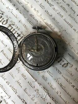 17Th Century Antique Verge Fusee Repousse Pair Case Pocket Watch By Windmills