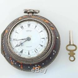 1800s Antique Edward Prior London Silver Triple Case Verge Fusee Pocket Watch