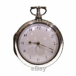 1804 Antique Pair Cased Silver Fusee Verge Pocket Watch
