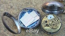 1810 Scottish Antique Silver Pair Cased Verge Fusee Pocket Watch Working Order