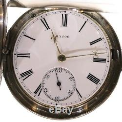 1869 Antique Full Hunter Pocket Watch Silver Fusee Lever. Serviced