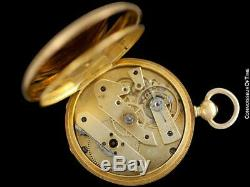 1870's PATEK PHILIPPE Antique Mens Midsize 50mm Hunter Case Pocket Watch 18K