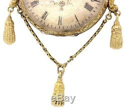 1870s Antique Victorian Ornate 18K Yellow Gold Pocket Watch Pendant for Necklace