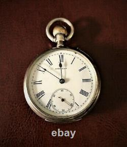 1878 Longines Gold Medal Patent Click Silver Pocket Watch Runs! Great Condition