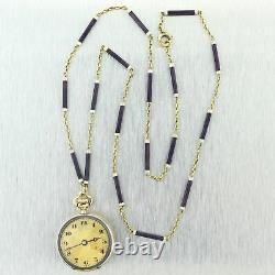 1880 Antique Victorian 18k Yellow Gold Purple Enamel Pocket Watch 22.25 Necklace