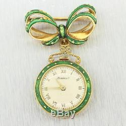 1880's Antique Victorian 18k Yellow Gold Enamel Ladies Pocket Watch Pin