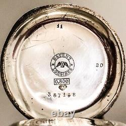 1885 Longines Gentlemans Silver Pocket Watch, 1878 Paris Anniversary, Running