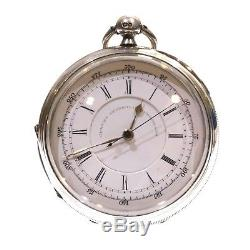 1894 Antique Fusee Lever Silver Chronograph Pocket Watch. Serviced