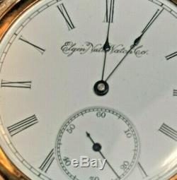 1895 Elgin full hunter antique pocket watch gold gilded works perfect 7j size 16
