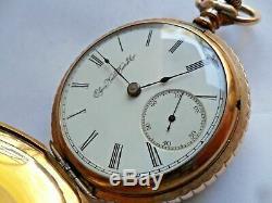 1896 Antique Elgin 18 Size Hunter's Case Gold Filled Pocket Watch Neat Case