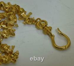 18K GOLD PLATED Victorian MEMENTO MORI SKULLS&BONES pocket watch chain fob