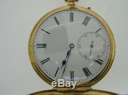18ct Yellow Gold Antique Half Hunter Pocket Watch blue Roman Numerals & Hands