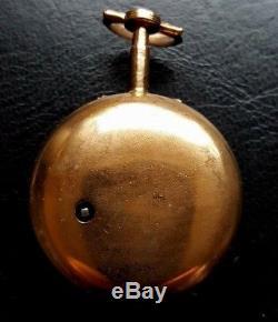 18th Century underpainted Horn Pair Cased Verge Pocket Watch in ticking order