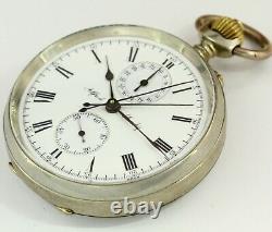 1900 Alfred Sandoz marine deck Swiss made vintage split chronograph pocket watch