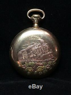 1907 Antique Hamilton 946 Pocket Watch with Train and Flowers 23 Jewels I-8557