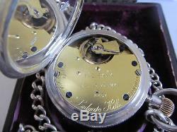 1907 J. W. Benson pocket watch solid silver working +original box + Albert chain