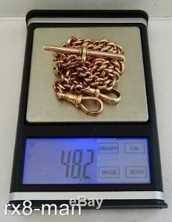 1910 ANTIQUE 9CT SOLID ROSE GOLD DOUBLE ALBERT POCKET WATCH CHAIN 48.2g