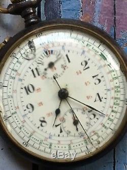 1920s Antique Pocket Chronograph Watch Movement Repair Valjoux 5 KVM