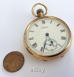 1924 Full Size Antique Solid 9ct Gold Waltham Pocket Watch 83.6 Grams