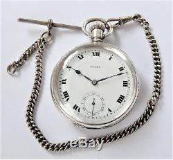 1927 Silver Cased Rolex Extra Prima 17 Jewelled Swiss Lever Pocket Watch Working
