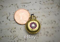 19mm TINY 18k GOLD Diamonds & Rubys SMALLEST ANTIQUE POCKET WATCH LeCoultre Mvmt