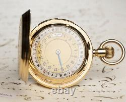 1/4 REPEATING DOUBLE SIDED Full CALENDAR Gold Antique Repeater Pocket Watch