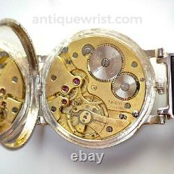 47mm vintage mens Rolex chronometer antique military mens trench watch silver