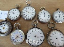8 Good Silver Antique Pocket Watches Forsale As 1 Job Lot