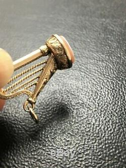 9ct Rose Gold Antique Pocket Watch Key Fob Irish Harp Sardonyx Good Detail 2.1g