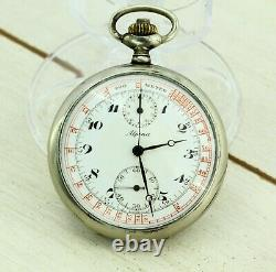 ALPINA Swiss made vintage military chronograph pocket watch, tachymeter scale