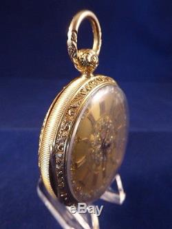 ANTIQUE 18ct MULTI-COLOURED GOLD POCKET WATCH BY R. L. ROBERTS c1850