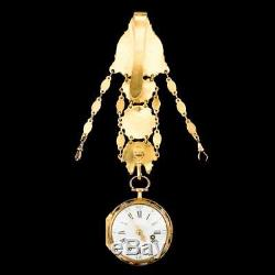 ANTIQUE 18thC ENGLISH 18K GOLD & ENAMEL OPEN-FACED VERGE WATCH CHATELAINE c. 1700