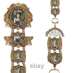 ANTIQUE 18thC SWISS 18K GOLD & ENAMEL, DIAMOND OPEN-FACED VERGE WATCH c. 1770
