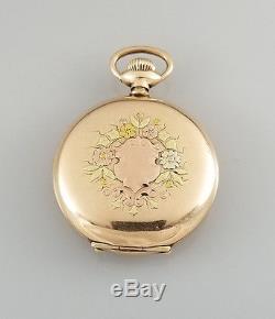 ANTIQUE 6s WALTHAM GF HC POCKET WATCH ELEGANT INLAID CASE GREEN ROSE YELLOW