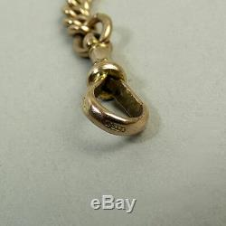 ANTIQUE 9ct ROSE GOLD DOUBLE CLIP KERB LINK POCKET WATCH ALBERT CHAIN C1900-35G