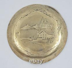 ANTIQUE CHASED SOLID 14K GOLD 40mm POCKET WATCH CASE COVER TOP 5.6g