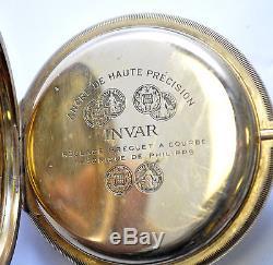 ANTIQUE Extremely Rare Solid 14K Gold INVAR Oversize 60mm Case Pocket Watch 138g