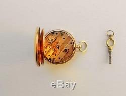ANTIQUE FRENCH SOLID GOLD 18K750 GUILLOCHE CYLINDER KEY WIND POCKET WATCH 19th