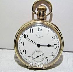 ANTIQUE GOLD FILL WALTHAM TRAVELER POCKET WATCH 1930 FWO beauty
