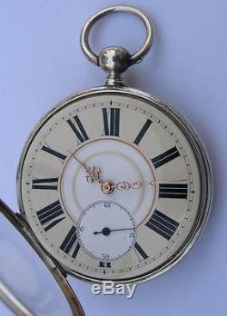 ANTIQUE KEY WIND SILVER POCKET WATCH SWISS 1890's ENGRAVED/SKELETON MOVEMENT