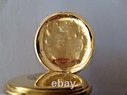 ANTIQUE LONGINES ENGRAVED POCKET WATCH 18K GOLD 50mm, 7 GRANDS PRIX XIX C