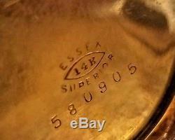 ANTIQUE Ladies ELGIN Pocket Watch SOLID 14kt GOLD with DIAMONDS TRI-COLOR Case
