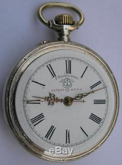 ANTIQUE SILVER 0800 F. BACHSCHMID PATENT4554 OPEN FACE POCKET WATCH SWISS 1900's