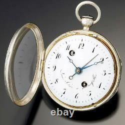 ANTIQUE SILVER VERGE ALARM POCKET WATCH CA1710s FRENCH LOUIS CURE, EARLY ALARM